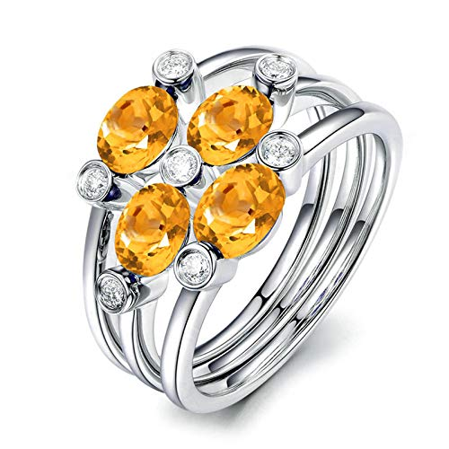 MoAndy Rings for Her Sterling Silver Rings Oval Shape Yellow Citrine Wedding Bands for Men Silver Size 8.5