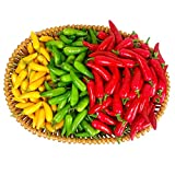 Lorigun 300Pcs Artificial Little Chili Simulation Pepper Mini Three-Colour (Red + Yellow + Green) Small Hot Pepper Lifelike Fake Vegetable Home Decor Each Color 100Pcs