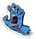 Santa Cruz Screaming Hand Skateboard Sticker in Blue - Jim Phillips Design 8cm NEW