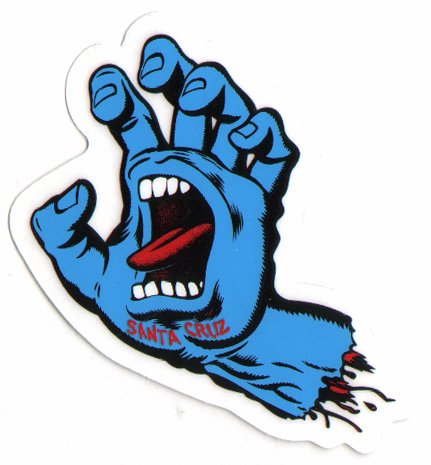 Santa Cruz Screaming Hand Skateboard Sticker in Blue – Jim Phillips Design 8cm NEW