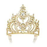 DcZeRong 5'' Tall Large Tiara Adult Women Birthday Pageant Prom Queen Gold Crystal Rhinestone Crown