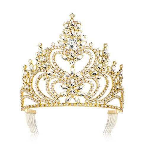 DcZeRong 5'' Tall Large Tiara Adult Women Birthday Pageant Prom Queen Gold Crystal Rhinestone Crown by DcZeRong (Image #6)