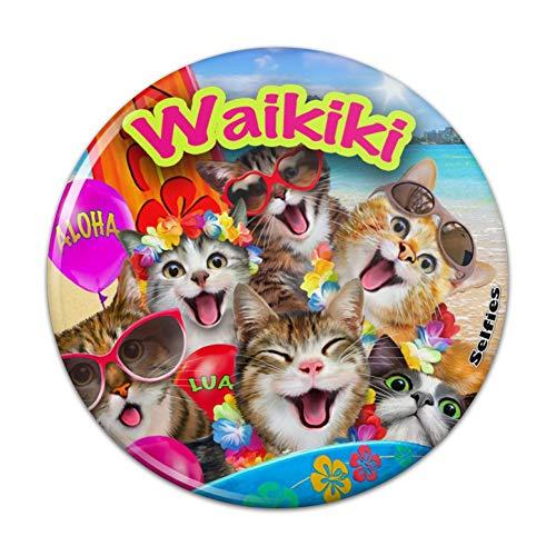 Waikiki Beach Cat Surf Selfie Honolulu Hawaii Compact Pocket Purse Hand Cosmetic -