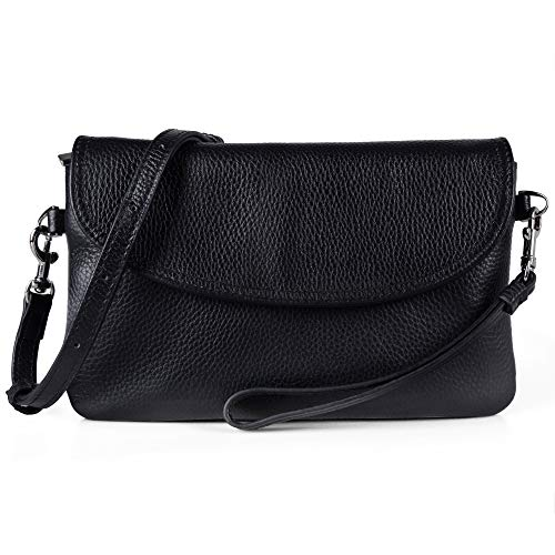 Befen Womens Full Grain Leather Wristlet Clutch Crossbody Phone Wallet, Mini Hipster Cross Body Bag - Black ()