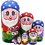 Lovely Gnome Dwarfs with Mushroom Cap and Grey Rabbit Handmade Wooden Russian Nesting Dolls Matryoshka Dolls Set 7 Pieces for Kids Toy Birthday Christmas New Gift Gift Home Decoration (Blue)