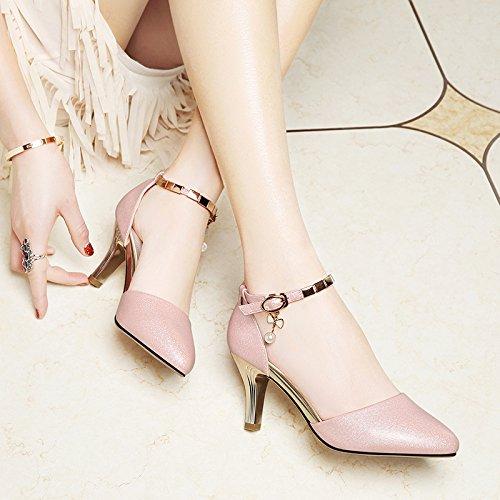 SHOESHAOGE Los Zapatos De Tacón Alto Zapatos De Mujer Chica Fina con Sandalias De Amarre Ranurados Hembra EU34/UK2-2.42