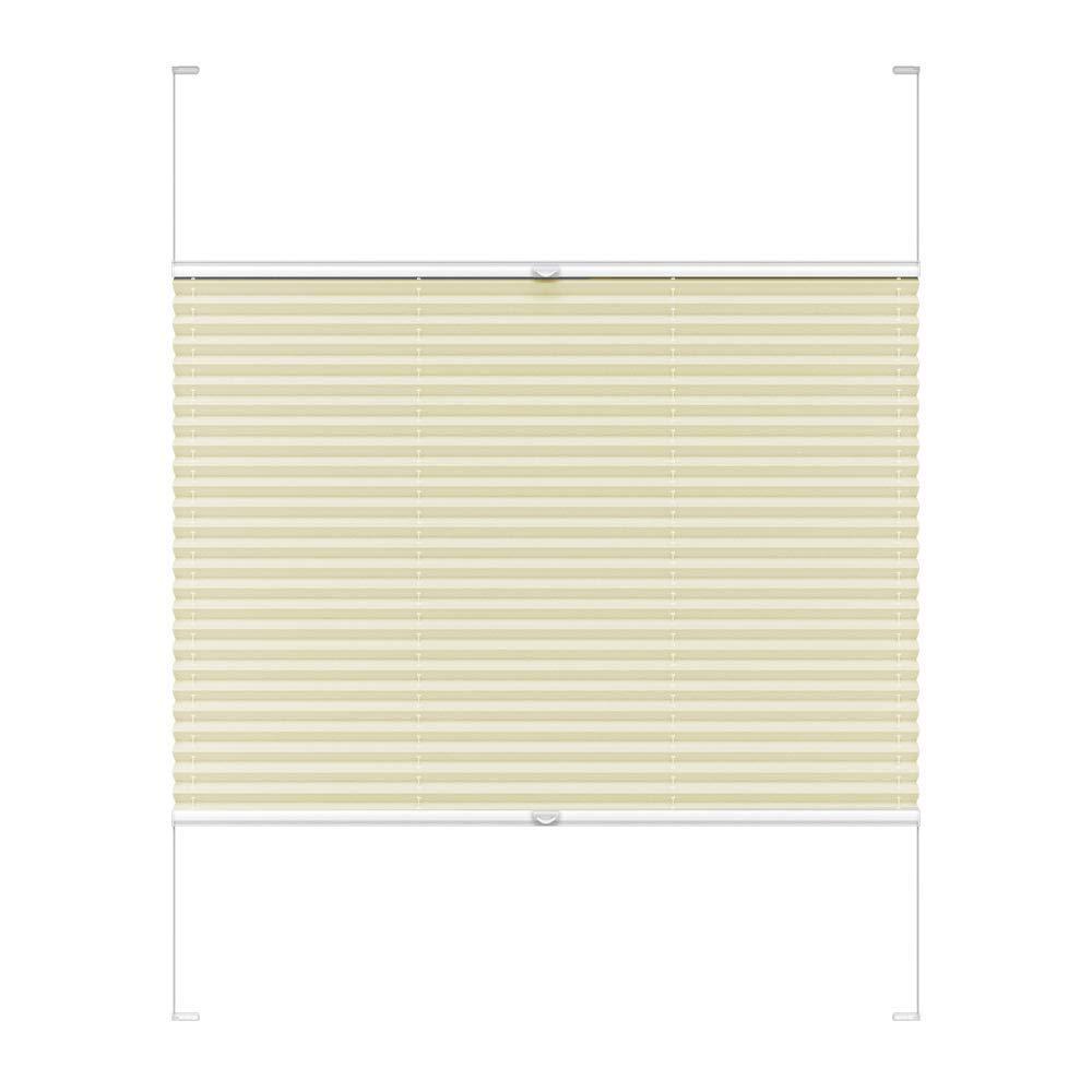 Victoria M. COSIFLOR Plissee auf Maß VS2 für Fenster und Türen, 701-800 mm Breite x 1601-1700 mm Höhe, Hellbeige, Montage in der Glasleiste mit Spannschuh B07HRSX9KL Plissees