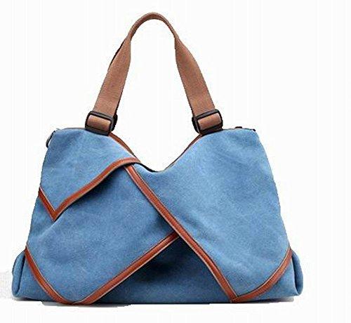 VogueZone009 Mujeres Cremalleras Bolsos cruzados Moda Lona Bolsas de mano Azul