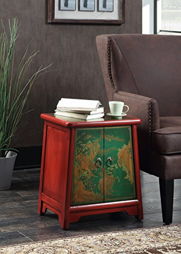 Convenience Concepts Touch of Asia Cabinet End Table, Red/Green (Coffee Hand Painted Console)
