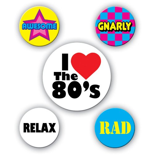 Beistle 60474 5-Pack 80's Party Buttons, 2-1/3-Inch and 1-1/3-Inch -