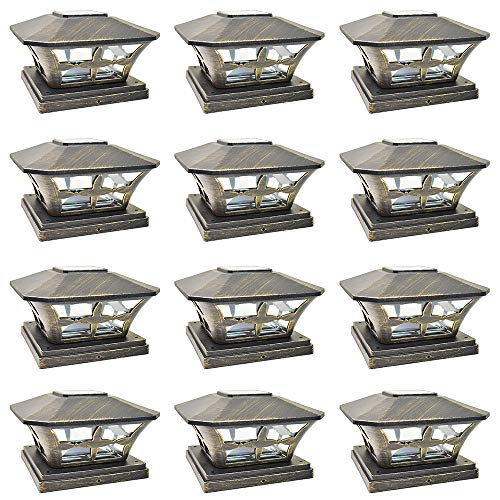 - iGlow 12 Pack Vintage Bronze Garden 6 x 6 Solar SMD LED Post Deck Cap Square Fence Light Landscape Lamp PVC Vinyl Wood
