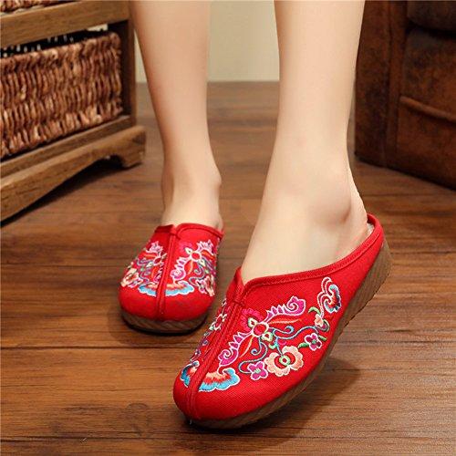 Avacostume Vrouwen Traditionele Stijl Oude Peking Borduurwerk Loafer Schoenen Rood