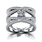 925 Sterling Silver Women Wedding Band and Engagement Rings Cubic Zirconia Wide Cross Size 5