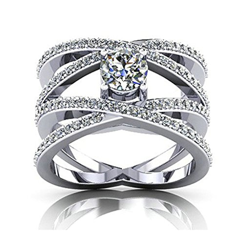 925 Sterling Silver Women Wedding Band and Engagement Rings Cubic Zirconia Wide Cross Size 5 by Epinki