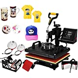 "Happybuy Heat Press Machine 12x15 Inch 360 Degree Swing Away Heat Press 5 IN1 Multifunction Sublimation T Shirt Press Mug Cap Plate with Dual Digital Controller (5in1 15"" x 12"" Swing Away)"