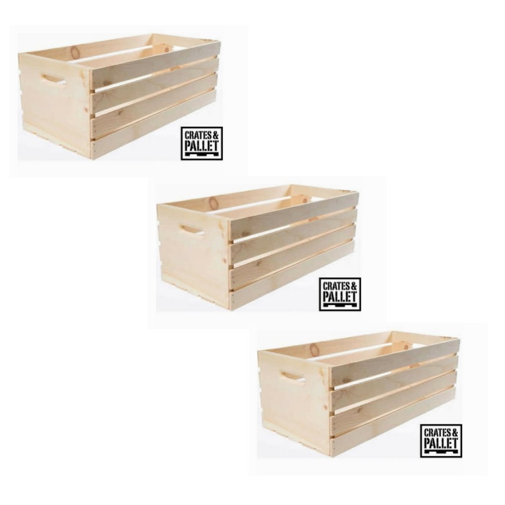 Extra Convenience Extra Large Wood Crate Natural Finish - SET of 3