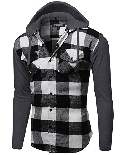 Plaid Checkered Detachable Hoodie Color Contrast Flanel Shirt White Black Size XL