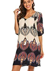 Halife Women's Vintage Ethnic Style Printed Tassel Tie Neck Loose Fit Bohemian Tunic Dress