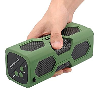 Waterproof Sport Speaker, Portable Wireless Bluetooth Speaker Bass Subwoofer Sound Speaker Bluetooth Speakers 4.0 with NFC Built-in Microphone 3600mah Rechargeable Battery 12 Playing Hours from Rocktech