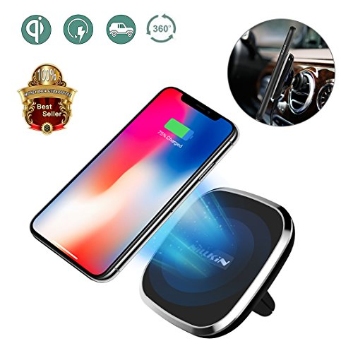 Wireless Charger Car Mount, Nillkin [2nd Generation] Air Vent Vehicle-Mounted Holder 2-in-1 Qi Magnetic Car Charger for iPhone 8/8 Plus/iPhone X/ Galaxy Note 8/S8 Plus All Qi-Enabled Devices by Nillkin
