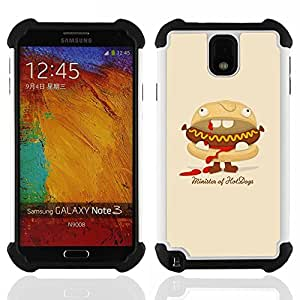 BullDog Case - FOR/Samsung Galaxy Note3 N9000 N9008V N9009 / - / Funny Minister Of Hot Dogs Burger /- H??brido Heavy Duty caja del tel??fono protector din??mico - silicona suave