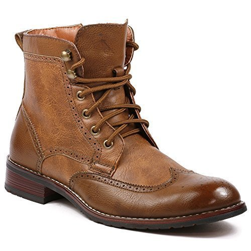 08567 Mens Casual Perforated High-Top Red Brogue Wingtip Dress Boots – Brown, Size 9 ()