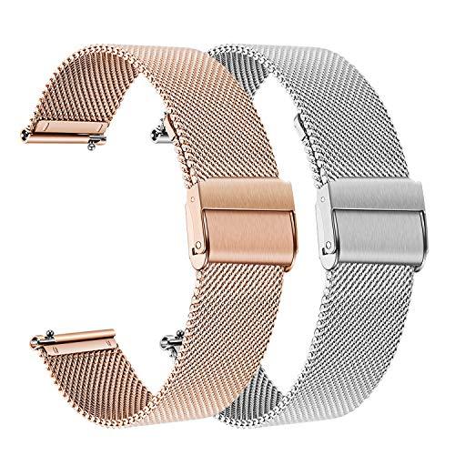 for Samsung Galaxy Watch 42mm Women Bands, TRUMiRR 2 Pack 20mm Mesh Woven Stainless Steel Watchband Quick Release Strap Bracelet for Garmin Vivoactive 3 / Ticwatch E (Garmin 205 Replacement Band)