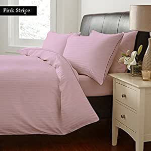NILE BED LINENS Egyptian cotton Sheet Set With 2 Pillowcases 500 Thread Count Stripe TWIN Size, PINK Color