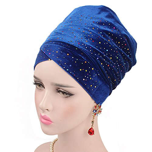 - Women Bling Crystal Dotted Chemo Hat Beanie Turban Head Wrap Cap for Cancer (Deep Blue)
