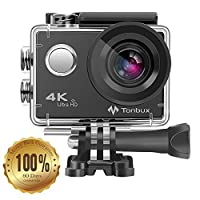 4K Action Camera , Tonbux WIFI 16MP 170 Degree Waterproof Wide Angle Lens Sport Camera with Sony Sensor, 2 x 1050mAh Rechargeable Batteries Included for Bicycle Diving Underwater 30Meters