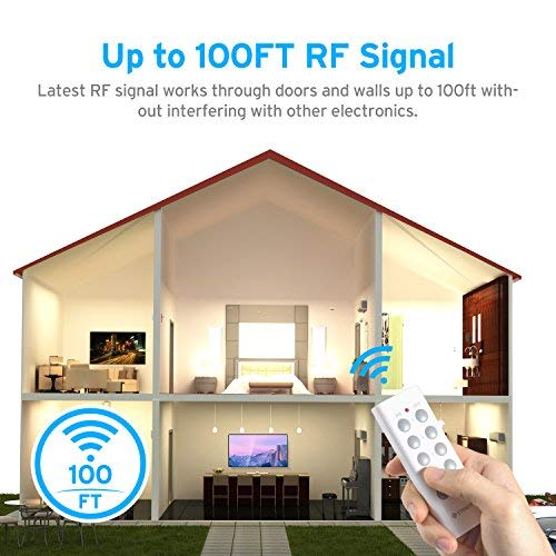 Etekcity Remote Control Outlet Kit Wireless Light Switch for Household Appliances, Pair Freely, Up to 100 ft. Range, FCC ETL Listed, White (Learning Code, 5Rx-2Tx) by Etekcity (Image #6)