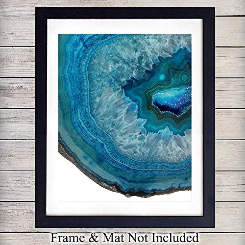 Blue Agate Wall Art Print - 8x10 Unframed Photo - Makes a Great Gift for Geode Collectors and Home Decor