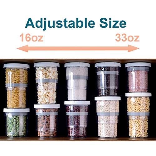 Airtight Food Storage Containers, Adjustable Size Kitchen Storage Containers, Saving Space, Ideal Dry Food Containers for Kitchen Pantry Organization and Storage, BPA Free Plastic Canister (1 Pack)