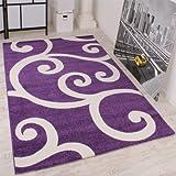 PHC Tappeto Di Design Orlo Rifinito Decorazione Amoniosa Modello Ondulato Viola Bianco, Dimensione:190x280 cm