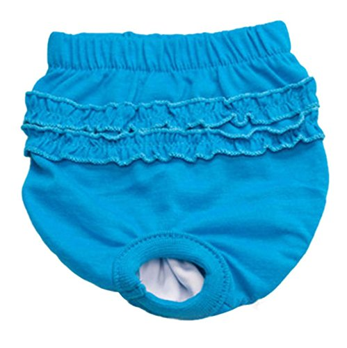 Pet Panty Daoroka Reusable Washable Physiological Sanitary Underwear Pants Diaper for Puppy Girl Female Small Pet Dog Cat (XS, BU)