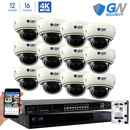 GW 16 Channel 8MP UltraHD 4K (3840x2160) Audio & Video Motorized Zoom Home NVR Security System - 12 x Dome 8 Megapixel 2.8-8mm 3X Optical Zoom Waterproof IP PoE Cameras Built-in Microphone