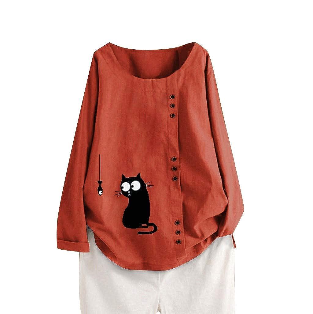 FRAUIT Mujer Camisa de Manga Larga de Suelto Tallas Grandes Tops con Cuello En V Color S/ólido Camiseta de Algod/ón y Lino con Bot/ón Casuales Oto/ño Invierno Blusa de Vendimia M-5XL