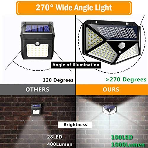 Deck Garage Patio Yard YUTALOW 100 LED Solar Lights Outdoor,Solar Powered Motion Sensor Lights Outdoor Waterproof Wall Light Night Light with 3 Modes with 270/°Wide Angle for Garden Fence-2Packs