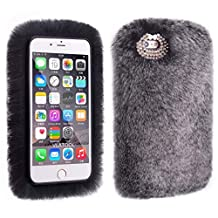 Phone Case for iPhone Xs Max, TechCode Lightweight Lovely Warm Furry Faux Fur Flexible Silicon Soft Protective Case Cover with Chic Bling Bowknot for 6.5 inch iPhone Xs Max 2018, Dark Gray