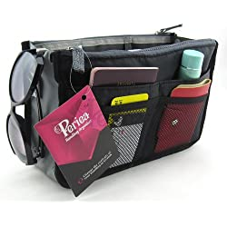 Periea Handbag Organizer, 12 Compartments - Chelsy (Black, Medium)