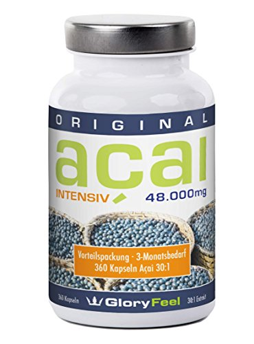 Acai Beeren Kapseln Intensiv 48.000 - Hochdosiertes 30:1 Extrakt - 360 Kapseln Original brasilianische Acai Berry + Vitamin C - 100% Natürlich und Rein - Premiumqualität Deutscher Herstellung