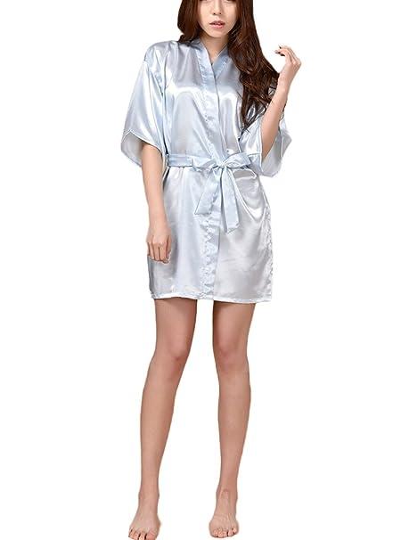 FY Mujeres Kimono Albornoz Robe Bathrobe Camiseta Vestido Seda De Imitación Ropa de Dormir Camisón Sleepwear Novia Dama Spa Sauna Fiesta de Bodas Regalo ...
