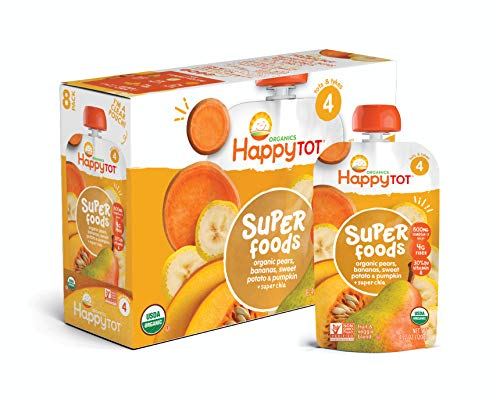 Toddler Pumpkin (Happy Tot Organic Stage 4 Super Foods Pears Bananas Sweet Potatoes & Pumpkin + Super Chia, 4.22 Ounce Pouch (Pack of 16) (Packaging May Vary))