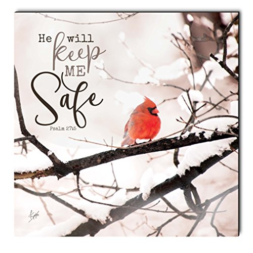 P. GRAHAM DUNN He Will Keep Me Safe Winter Cardinal 12 x 12 Inch Wood Printed Decorative Wall Plaque Sign
