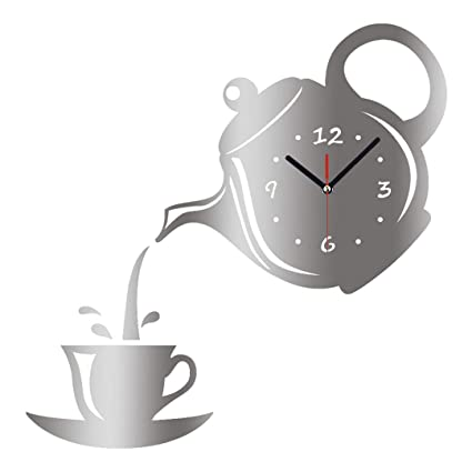 SHFISIKI Wall Clock Mirror Effect Coffee Cup Shape Decorative Kitchen Wall  Clocks Living Room Home Decor