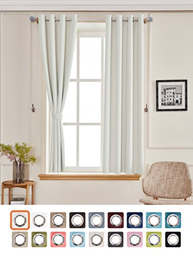 Yakamok Safe and Green Heat Blocking Thermal Insulated Blackout Curtains Solid Grommet Top Window Draperies/Drapes/panels for Bedroom/Living Room 52x84 Inch Greyish white 2 Panels