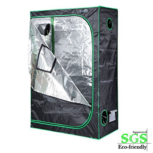 "51YYNOhHmkL - Quictent SGS Approved Eco-friendly 48""x24""x72"" Reflective Mylar Hydroponic Grow Tent with Heavy Duty Anti-burst Zipper and waterproof Floor Tray for Indoor Plant Growing 4'x2'"
