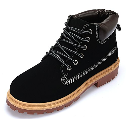 IdealGlory Men's Work Boots Combat Boots High Tops Outdoor Shoes, Lace Up Leather Rubber Sole Soft Toe,Black EU43