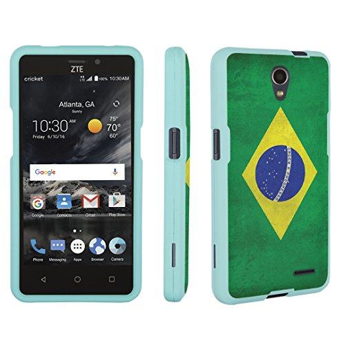 Aquamarine Brazil Blue (ZTE Sonata 3 Case / ZTE Chapel Case, DuroCase Hard Case Mint for ZTE Sonata 3 Z832 /ZTE Chapel Z831 (Cricket, Released in 2016) - (Brazil Flag))