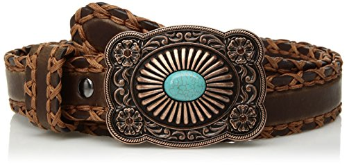 Ariat Women's Lace Edge Copper Turquoise Buckle Belt, brown, Extra Large
